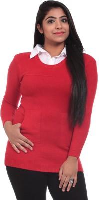 Saiints Solid Crew Neck Casual Women's Red, Grey Sweater