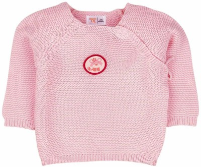 Mom & Me Solid Round Neck Casual Baby Girl's Pink Sweater