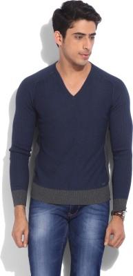 GAS Solid V-neck Casual Men Grey, Dark Blue Sweater