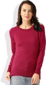 Dressberry Solid Round Neck Casual Women Pink Sweater
