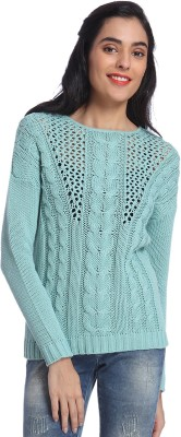 Only Solid Round Neck Casual Women's Green Sweater