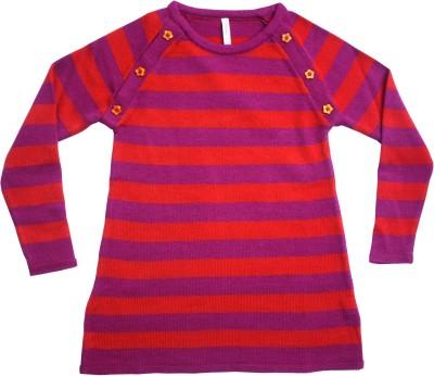 Campana Striped Round Neck Casual Girl's Orange Sweater