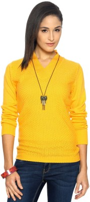 Allen Solly Woven V-neck Casual Women's Yellow Sweater