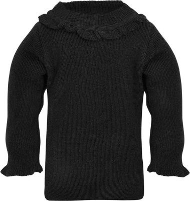 RVK Solid Round Neck Casual Girl's Black Sweater