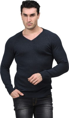 Mettle Solid V-neck Men's Dark Blue Sweater