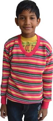 Shaun Striped V-neck Casual Boy's Multicolor Sweater