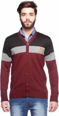 Aeroglide Striped V-neck Casual Men's Multicolor Sweater