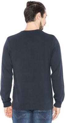 Status Quo Self Design V-neck Casual Men's Dark Blue Sweater