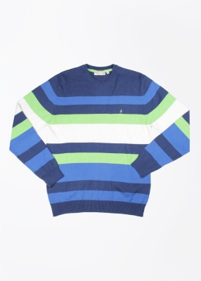 John Players Striped Round Neck Casual Men's Multicolor Sweater