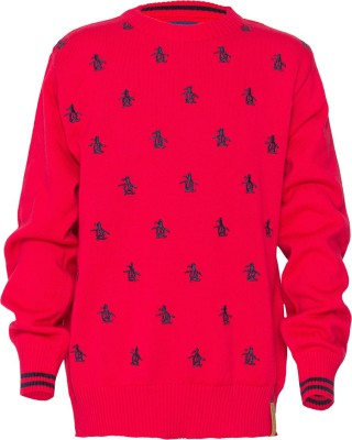 Status Quo Cubs Solid Round Neck Casual Boy's Red Sweater