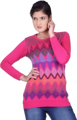 Spink Self Design Round Neck Casual Women's Pink Sweater