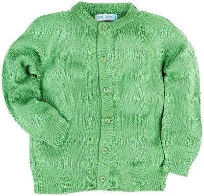 Snuggles Solid Round Neck Baby Boy's Green Sweater