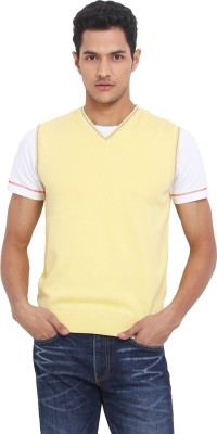 Northern Lights Solid V-neck Casual Men's Yellow Sweater