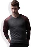 WROGN Self Design V-neck Casual Men Grey...