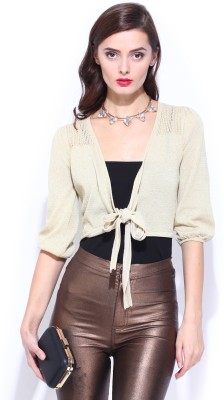 D Muse by DressBerry Solid V-neck Casual Women's Beige Sweater