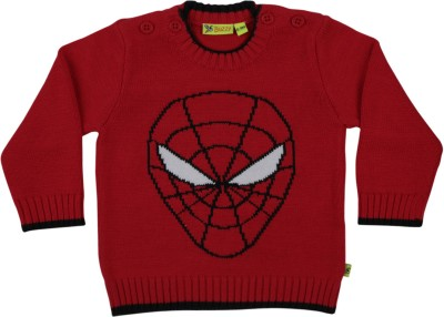 Buzzy Solid Round Neck Casual Baby Boys Red Sweater