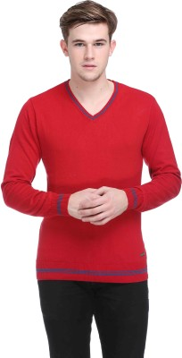 CLUB YORK Solid V-neck Casual Men's Red Sweater