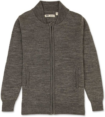 Levi's Solid Turtle Neck Casual Girl's Grey Sweater