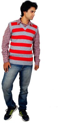Alpine Enterprises Striped V-neck Men's Red, Grey Sweater