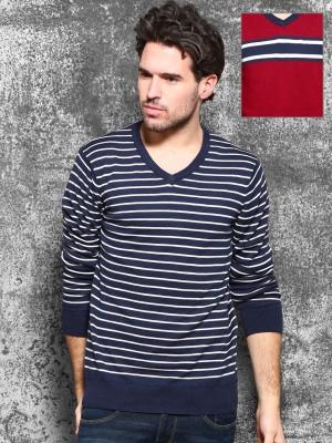 WROGN Self Design V-neck Casual Men's Red Sweater