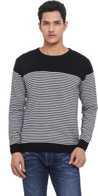 Northern Lights Striped Round Neck Casual Men's Black, White Sweater