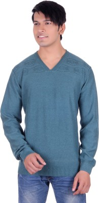 Deutz Solid V-neck Casual Men's Green Sweater