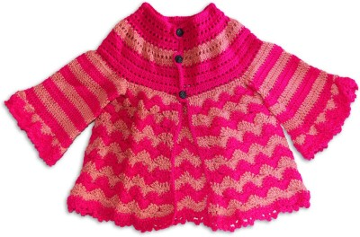 MFJKrafts Woven Round Neck Party, Casual Boy's Pink Sweater