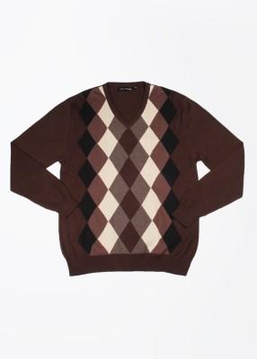John Players Self Design V-neck Casual Men's Beige, Brown Sweater