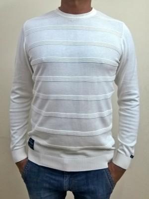 Locus Classicus Solid Round Neck Men's White Sweater