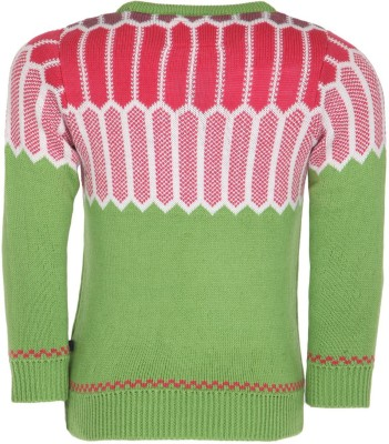 Bells and Whistles Solid Round Neck Baby Girl's Green Sweater