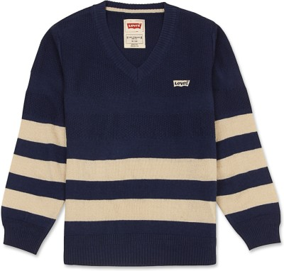 Levi's Striped V-neck Casual Girl's Dark Blue, Beige Sweater