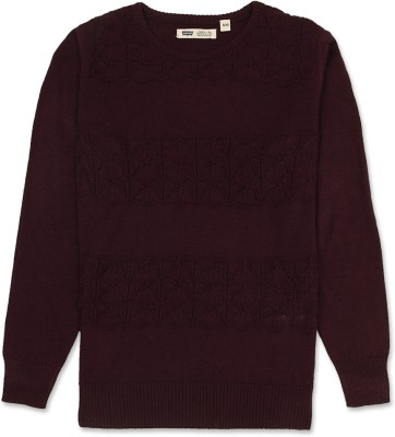 Levi's Self Design Round Neck Casual Girl's Maroon Sweater