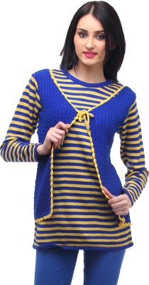 Stylistry Striped Round Neck Casual Women's Blue Sweater