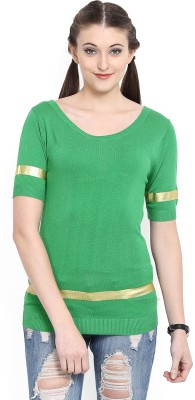 United Colors of Benetton Solid Round Neck Casual Women Green Sweater