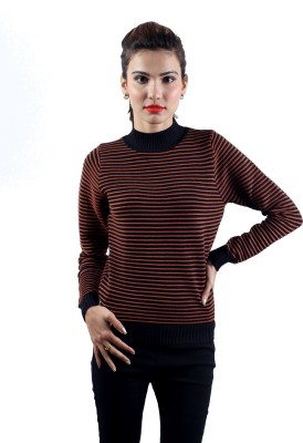 Envy Striped Turtle Neck Casual Women's Brown Sweater