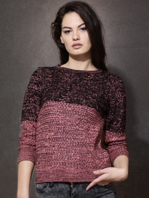 Roadster Self Design Round Neck Casual Women's Pink Sweater