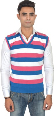 Zhomro Striped V-neck Casual Men,s Pink, Blue Sweater