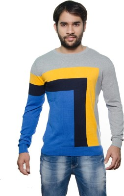 AMX Striped Round Neck Casual Men's Light Blue, Grey, Yellow, Black Sweater