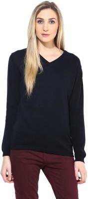 Tshirt Company Solid V-neck Casual Women's Dark Blue Sweater