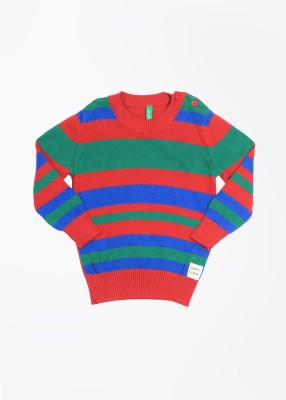 United Colors of Benetton Striped Round Neck Casual Baby Girl's Blue, Green, Red Sweater