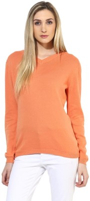 Tshirt Company Solid V-neck Casual Women's Orange Sweater