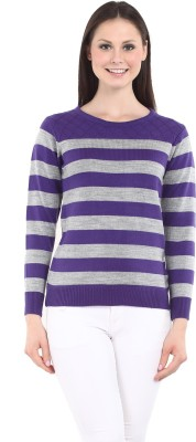 Miss Grace Striped Round Neck Casual Women's Purple Sweater