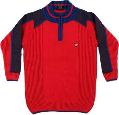 Kidax Solid, Self Design Turtle Neck Casual, Festive, Party Boy's Red Sweater