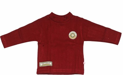 Babiano Solid Round Neck Boy's Maroon Sweater