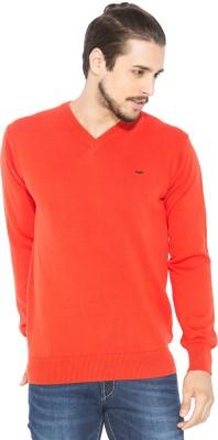 Status Quo Solid V-neck Casual Men's Orange Sweater