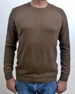 Locus Classicus Solid Round Neck Men's Brown Sweater