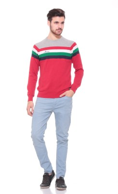 Pro Riders Solid Round Neck Casual Men's Red Sweater