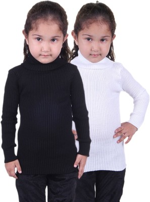 Lienz Woven Turtle Neck Casual Girl's White, Black Sweater