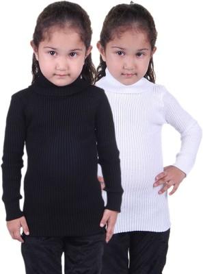 Lienz Woven Turtle Neck Casual Girls White, Black Sweater