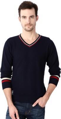 University of Oxford Self Design V-neck Men's Dark Blue Sweater